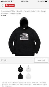 Selling supreme the north face metallic hoodie M