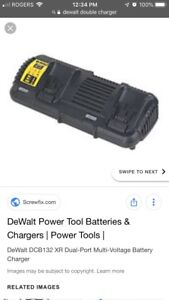 Dewalt double charger, 3 single chargers and 2 tool boxes