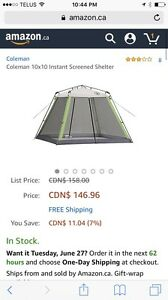 Coleman 10x10 instant screen shelter/canopy