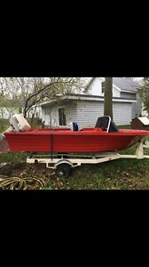 14ft runabout fishing boat with 40 Johnson