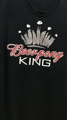 Beer Pong King Mens Large T-shirt -Budweiser style logo By Spencer's