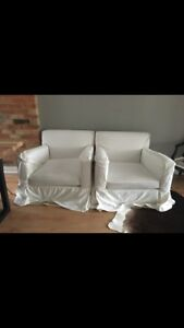 Large Cozy white arm chairs / couch