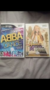 WII games Just Dance ABBA and Hanna Montana