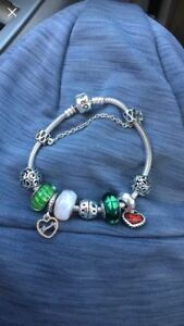 Authentic Pandora Bracelet with all charms seen & Safety lock