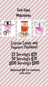 COTTONCANDY & POPCORN MACHINE FACE PAINTING BOUNCY CASTLES