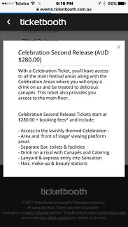 Selling 1 X celebration second release sensation ticket in Sydney