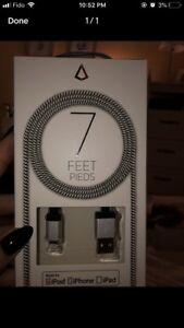 7 feet charger cable  for iPhone/iPad/  iPod