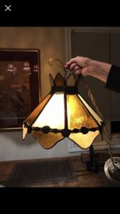 Hanging Stained Glass light fixture Vintage Antique
