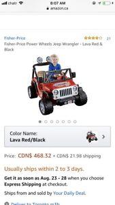 Power Wheels Jeep Wrangler - Lava Red & Black Brand new
