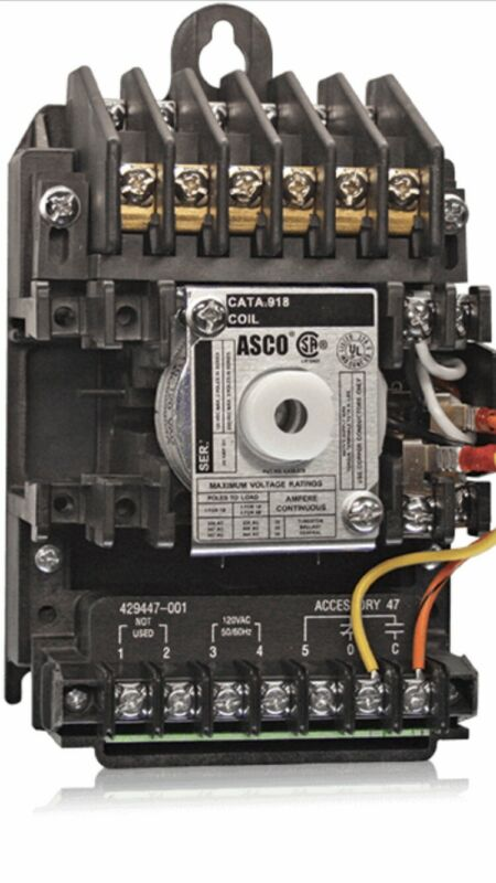 ASCO 6 Pole 20 Amp Contactor 91862031X 110-120volts Coil With ACC 47L New