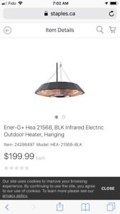 New Ener-G+ Hanging Infrared Electric Outdoor Heater with Remote