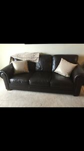 Dark brown leather couch
