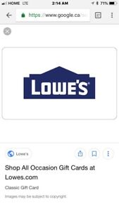 Lowe's store credit $500 for $350