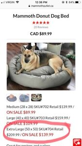 XL Donut Dog Bed - Mammoth Dog Beds