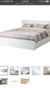 IKEA queen bed with storage drawers