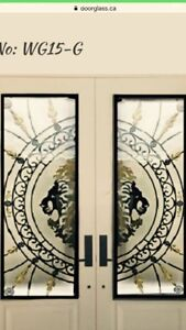 Wrought iron stain glass,decorative Door Glass inserts