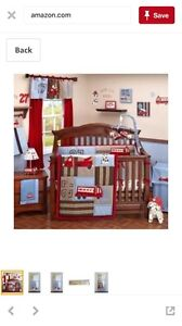 Nojo fire truck crib bedding set with lamp and 2 wall canvases