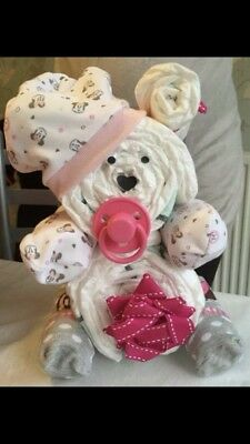 Baby Nappy Cake Gift - Bear - For A Baby Girl - Baby Shower Ideas