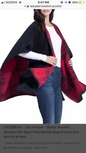 Red Plaid Woolrich Poncho- One Size