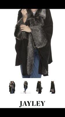 BNWT JAYLEY GENUINE DESIGNER WOOL BLEND BLACK & GREY FAUX FUR PONCHO CAPE COAT