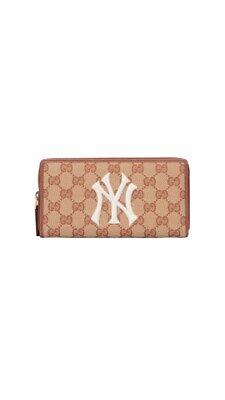 GUCCI MLB Collab NY Yankees Zip Around Wallet Canvas NWOT