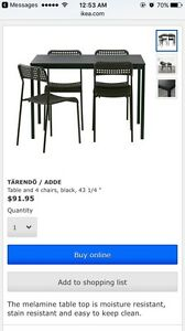 Table and four chairs (IKEA)