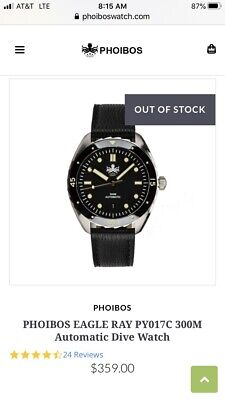 Phoibos Eagle Ray 300m Black Automatic Dive Watch PY017C