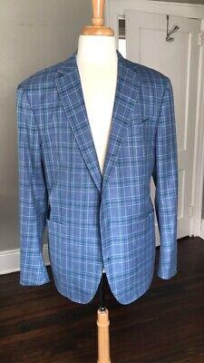 ERMENEGILDO ZEGNA Mil Easy Lt Blue Plaid Wool Silk Coat Jacket 56 46 R