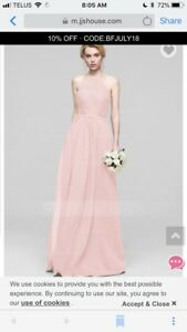 Pearl pink A-line bridesmaids dress