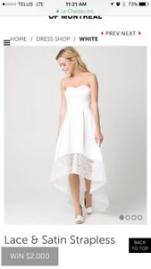 White Satin high low gown