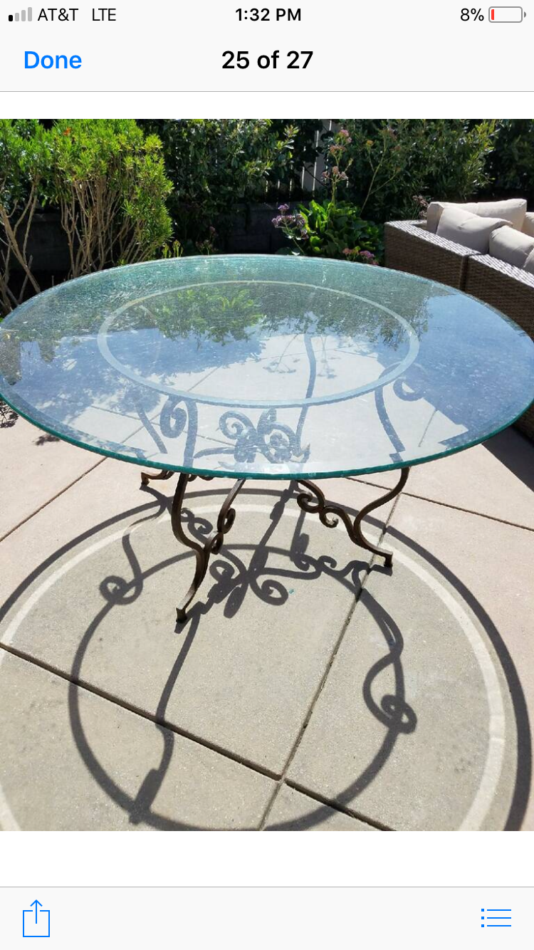 Vintage Round Wrought Iron Scroll Table With Beveled Glass Top - $1,295.00