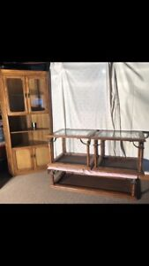 Solid Wood Coffee Tables and Corner Hutch Set