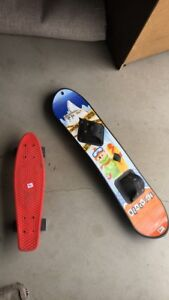 Kids Snowboard and Red Penny Board