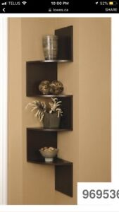 Espresso dark brown corner shelf unit