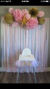 Pink and gold first birthday decor and tutu