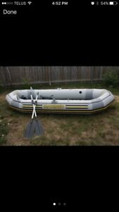 Inflatable boat.