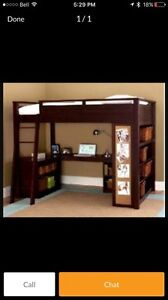 Double bunk bed with integrated desk and bookshelves