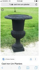 WANTED: a pair of cast iron urn style planter pots