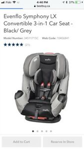 Evenflo symphany lx Car Seat /booster NEW