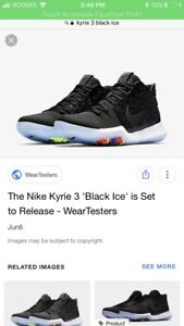 Kyrie 3s black ice size 9 mens