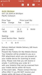 Arctic Monkeys tickets- Oct 25 Vancouver