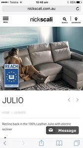 Nick Scali New Leather Lounge 2.5 seater- no chaise Southport Gold Coast City Preview