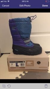 Sorel kids boots size 2 (new)