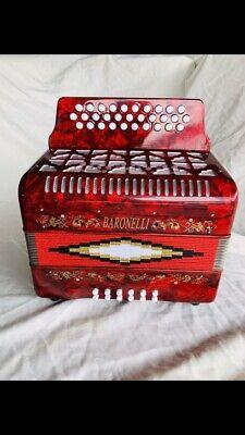 Baronelli Accordion Red 3112 R/W/G en SOL acordeon GCF new NUEVO Rojo