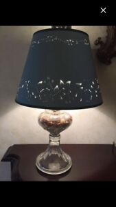 Antique glass lamp base with handmade pierced lampshade