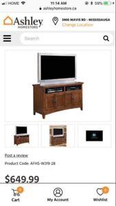 Ashley Oak Cross Island Tv Stand