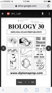 Biology 30 Diploma Prep Booklets and Review Questions