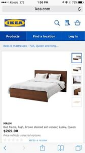Ikea Malm Queen bed frame, side table, Sealy mattress