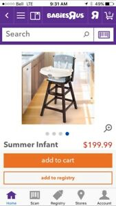 Used Summer Infant Classic Comfort Wood Highchair - Turtle Tale