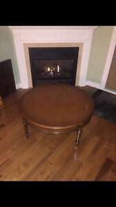 "36"" Round antique coffee table"
